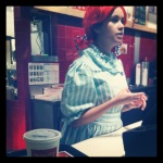 A Wendy's employee at the PDX location. It just seems cruel. Not pictured :pantaloons. (I'm not kidding)